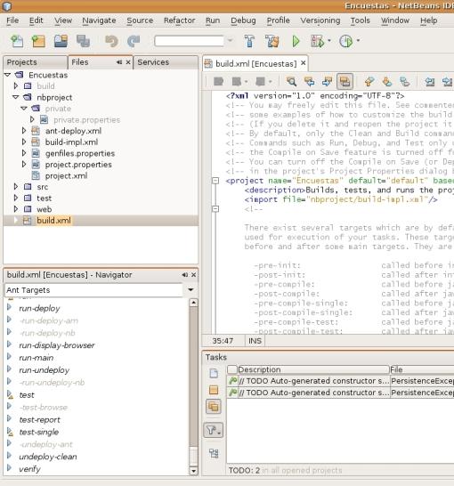 Detalle del build.xml generado por el NetBeans